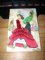 Cpsm 9x14 Carte Fantaisie Brodee Fil De Soie Espagne Baile Flamenco Elsi Gumier Bon Etat - Embroidered
