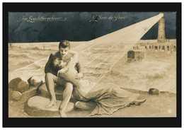 Liebes-AK Liebespaar Im Leuchtturmfeuer, OSTENDE 15.8.1910 - Sin Clasificación