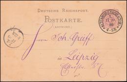Postkarte P 13A A Ziffer 5 Pf. Antwortteil ALTENBURG (SACHS. ALTENB.) 17.10.1886 - Germany