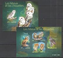TG057 2015 TOGO TOGOLAISE FAUNA BIRDS OWLS LES HIBOUX ET LES CHOUTTES KB+BL MNH - Hiboux & Chouettes