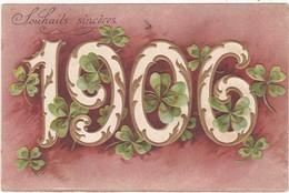 Carte Gaufrée : 1906 : Trèfle - Nouvel An