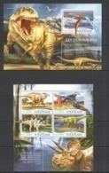 TG081 2015 TOGO TOGOLAISE FAUNA REPTILES PREHISTORIC ANIMALS DINOSAURS KB+BL MNH - Briefmarken