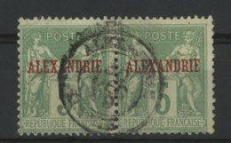 ALEXANDRIE / COLONIES Cote 240 €. PAIRE Du N° 6 Oblitéré. 5ct Vert Jaune Type II (N/U). Voir Description - Usati