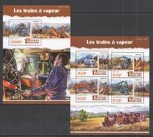 TG095 2015 TOGO TOGOLAISE TRANSPORT STEAM TRAINS LES TRAINS A VAPEUR KB+BL MNH - Eisenbahnen