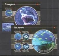 TG134 2015 TOGO TOGOLAISE FAUNA MARINE LIFE SHARKS LES REQUINS KB+BL MNH - Marine Life