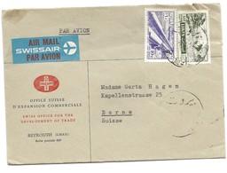 239 - 9 - Enveloppe Envoyée De Beyrouth En Suisse - étiquette Par Avion Swissair - Liban