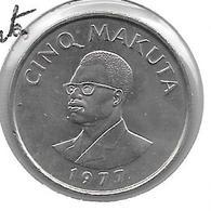 * Bel.  Congo   Zaire 5 Makuta 1977  Km 12  Xf+ - Zaïre (1971-97)
