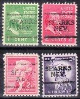 USA Precancel Vorausentwertung Preo, Locals Nevada, Sparks 701, 4 Diff. - Vereinigte Staaten