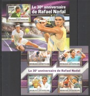 CA038 2016 CENTRAL AFRICA CENTRAFRICAINE SPORT TENNIS 30TH ANNIVERSARY RAFAEL NADAL KB+BL MNH - Tenis