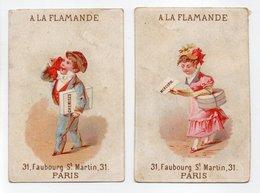 - 2 CHROMOS A LA FLAMANDE - MERCERIE, BONNETERIE - 31, Faubourg St-Martin, PARIS - - Other