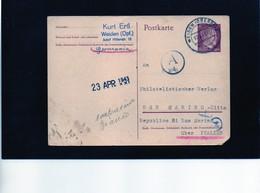 CG6 - Germania - Cartolina Postale - Annullo Di Wieiden 7/4/1943   Per Rep. San Marino - Germany
