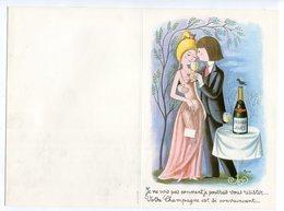Double Feuillet Vierge Pour Menu  : Champagne  Perrier Jouët Amoureux De Peynet  Format 200*136 Mm - Menus