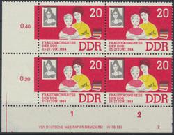 DDR 1030 Frau + Kind 20 Pfennig Viererblock Bogenrand Druckvermerk Postfrisch - DDR