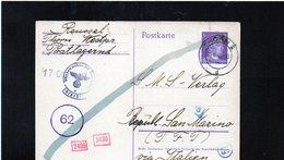 CG6 - Germania - Cartolina Postale - Annullo Di Thorn 1/6/1943 Per Rep. San Marino - Germany