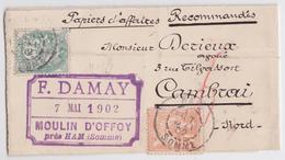 Pli Papiers D'affaires Recommandés Damay Moulin D'Offoy Près Ham Somme Pour Derieux Cambrai Vignette Recommandée Mouchon - Postmark Collection (Covers)