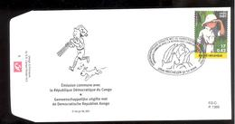 FDC - Tintin / Kuifje - Hérgé - Tintin Au Congo - Emission Commune -  Timbres N°3048 - 2001 - Tampon Mechelen - FDC