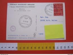A.01 ITALIA ANNULLO - 1969 BIELLA VERCELLI MOSTRA FRANCOBOLLO IN VETRINA NEGOZIO COMMERCIO CARD BATTISTERO - Giornata Del Francobollo