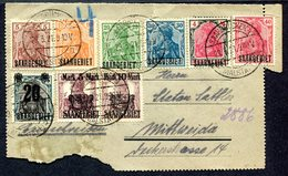 VE0439 SAAR SARRE 1921 Intero Postale (quasi Completo) Affrancato Con 9 Francobolli Di Germania Sovrastampati Saargebiet - 1920-35 League Of Nations