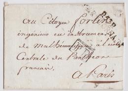 Révolution An X Marque Postale Linéaire P53P Bar-sur-Ornain Bar-le-Duc Meuse Citoyen Fortin Ecole Centrale Panthéon - Marcophilie (Lettres)