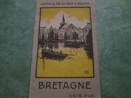 CHEMINS De FER De PARIS à ORLEANS - BRETAGNE Côté Sud (12 Pages Illustrées) - Chemin De Fer
