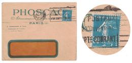 PEU COURANT TIMBRE SEMEUSE N° 192 De ROULETTE Sur LETTRE À ENTETE PHOSCAO PARIS FLIER 1926 GARE LAZARE - 1906-38 Sower - Cameo