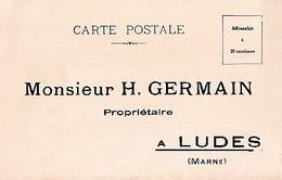 LUDES      MONSIEUR H GERMAIN PROPRIETAIRE          CARTE COMMERCIALE   THEME CHAMPAGNE - Francia