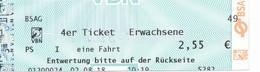 BRD Bremen 2019 BSAG Strassenbahn 4er Ticket Erwachsene - Europe
