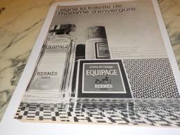 ANCIENNE   PUBLICITE PARFUM EQUIPAGE  DE HERMES 1971 - Profumi & Bellezza