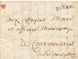 France - 29 NISMES - Marque Linéaire - Complete Folded Letter - Marcofilia (sobres)