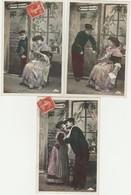 CARTE FANTAISIE -COUPLE-   EDITION  J.L.C.   SERIE DE 3 CARTES LE MILITAIRE - Men