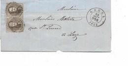 SH 0304. Paire 10A (1 Exempl. Bien Margé - 1 Voisin - L' Autre 1 Voisin - Déft Coin Inf. Dr.)  S/LSC CHENEE. Léger Pli. - 1858-1862 Médaillons (9/12)