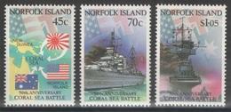 Norfolk - YT 516-518 ** MNH - 1992 - Coral Sea Battle - WW2 - Ile Norfolk