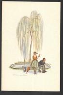 Cpa..illustrateur Italien..Bompard.S..art Nouveau../art Déco..couple D'amoureux Sur Un Banc ... - Bompard, S.