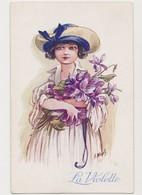 Cpa Fantaisie Dessinée Signée A.Wuyts / Jeune Fille Au Chapeau Avec Bouquet De Violettes - Wuyts