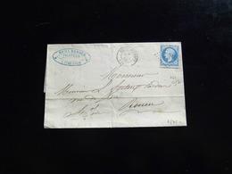 LETTRE DE BELLENCOMBRE POUR ROUEN   -  1866  - - Poststempel (Briefe)