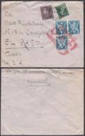 """Belgique - Lettre COB434+646+676Ax3 """" Cie Italienne-Griffe O.A.T """" De Bruxelles 25/08/1945 Vers El Paso (RD356)DC5869 - Brieven"""