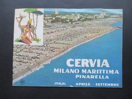 Alter Reiseprospekt Cervia Milano Marittima Pinarella Ca. 1950er / 60er Jahre Faltbroschüre Mit VW T1 Bus / Bulli - Folletos Turísticos