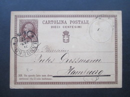 Italien 1877 Ganzsache Nach Hamburg Und Ak Stempel Hufeisenstempel Hamburg Aus Milano Enrico Casati - 1861-78 Vittorio Emanuele II