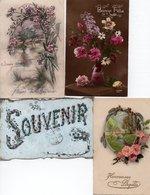 Lot De 4 Cartes Postales Anciennes - FANTAISIES FLEURS - - Cartes Postales