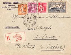 FRANCE Lettre Recommandée De NANCY Du 5/06/1935 Via ZOUG En Suisse - Storia Postale