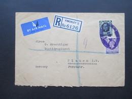 GB 1937 Georg V Nr. 180 / 181 MiF Violetter Registered Stempel Einschreiben Finchley 3 Nach Plauen Rücks. 5 Stempel - 1902-1951 (Könige)