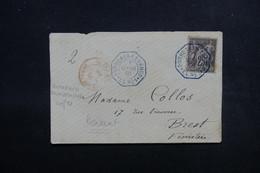"""FRANCE - Oblitération """" Bordeaux à Loango LL N°1 """" En Bleu + Outremer Dunkerque En Rouge Sur Devant En 1891 - L 51612 - Poste Maritime"""