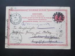 Schweden 1896 Ganzsache Aus Stockholm Nach Berlin Und Von Dort Weitergeleitet Nach Wernigerode Jeweils Mit Stempel - Schweden