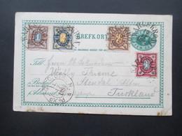 Schweden 1894 Ganzsache Aus Karlskrona - Stendal Mit 4 Zusatzfrankaturen / Vierfarbenfrankatur!! Satzbrief Ziffer - Schweden