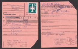 Könnern Torgau Postanweisung 26.10.89 Nationale Volksarmee, Poststellenstempel, Terminalentwertung, 40 Pf. Luftpost - Covers