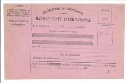 MANDAT-POSTE INTERNATIONAL R. - Stamped Stationery