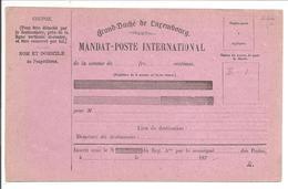 MANDAT-POSTE INTERNATIONAL187 . R. - Entiers Postaux