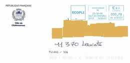 EMA HU 678331 Indre Marque De Tri TL 1402/336 Mairie Châteauroux Château Schloss Castle Blason Armoiries - Marcofilia (sobres)