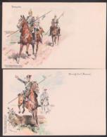 Sächsische Soldaten-Postkarte Ungebraucht Patroulle, Hurrah Die I. Husaren!, Um 1900 Litho, Künstlerkarte C. BECKER - Uniformen