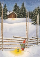 Brownie - Gnome - Elf Standing By The Fence In Winter Landscape - Eva Dahlberg - Natale